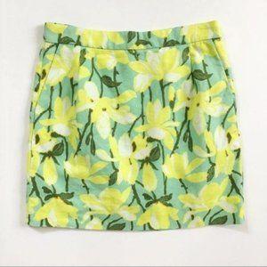 J. Crew Printed Basketweave Mini Skirt Yellow Flor